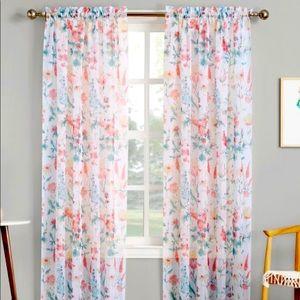 Sheer floral print curtains